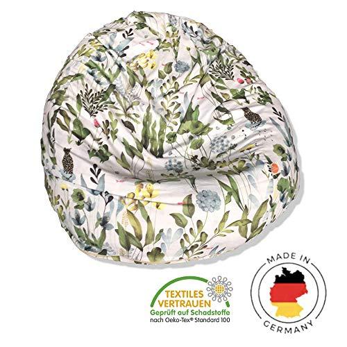 millemarille Sitzsack für Kinder & Erwachsene | XL Sessel ø 80 cm, 240 Liter | Bean Bag aus formstabilen & ungiftigen EPP Perlen | Bezug waschbar & auswechselbar, Ökotex 100 | Design: Magic Garden