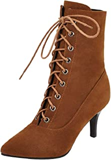 ELEEMEE Women Stiletto Ankle Boots Lace Up