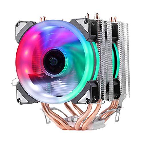 Gazechimp CPU Enfriador Ventilador Radiador 12V Colorido RGB LED 3 Pines para Intel LGA775 / 1150/1151/1155/1156/1366 para AMD FM2 / AM4 / FM1 / AM3 + / AM3 / a - Doble Torre 2 Ventiladores