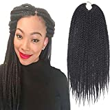 7Packs 14Inch Box Braids Crochet Braids Mambo Twist Braiding Hair 22roots Synthetic Kanekalon Jumpo Box Braids Brading Hair Extensions (14 inch, 1B)