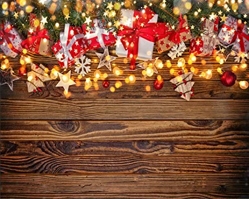 Haosphoto Merry Christmas Backdrop 9X6FT Xmas Gifts Vinyl Backdrops Twinkle Stars Bokeh Sequins Stripes Wood Plank Photography Background for Happy New Year's Eve Party Photo Studio Props HS301