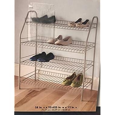 28 in. 12-Pair 4-Tier Nickel Floor Shoe Rack