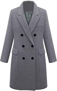 2d7d3cb947a Womens Winter Lapel Wool Double Breasted Coat Long Trench Jacket Parka  Overcoat Outwear