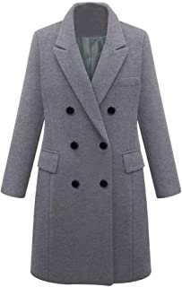 🍒 Spring Color 🍒 Women's Coat Jackets Wool Long Sleeve Blend Trench Coats Pea Coat Single Breasted Outwear with Belt