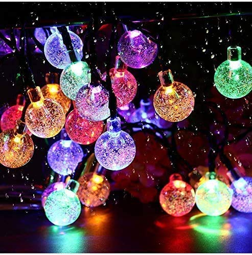 Solar String Lights Garden 50 LED 24Ft Outdoor String Lights Multi-Colored Waterproof Crystal Ball Fairy Lights, Decoration Lighting for Home, Garden, Patio, Yard, Christmas