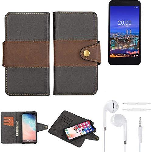 K-S-Trade® Handy-Hülle Schutz-Hülle Bookstyle Wallet-Case Für -Vestel 5530- + Earphones Bumper R&umschutz Schwarz-braun 1x