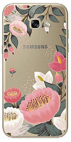 Novago Coque Compatible Samsung Galaxy A3 2017 Coque en Gel Souple Transparente Solide incassable avec Jolie Impression Fantaisie de qualité-Grosses Fleures Colorées