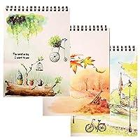 手描きの白紙スケッチブックA4スケッチブックコイルルーズリーフブック3冊120枚