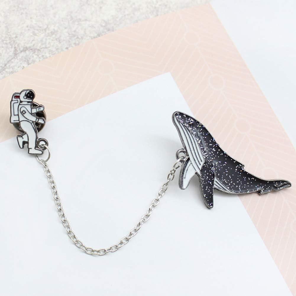 KingbeefLIU Unisex Astronauta Smalto Balena Distintivo Spilla Spilla Pin Abbigliamento Collare Gioielli Elegante Spilla Vintage Gioielli Regalo Nero