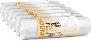 Marca Amazon - Solimo Bolsas de basura con asas - 50 litros - 6 x 20 uds.