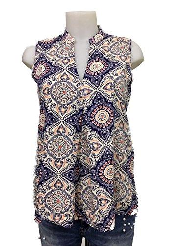 Only Onlnova S/l Pleat Top Wvn Camiseta sin Mangas, Multicolor (Cloud Dancer AOP: Mandala), 36 (Talla del Fabricante: 34) para Mujer