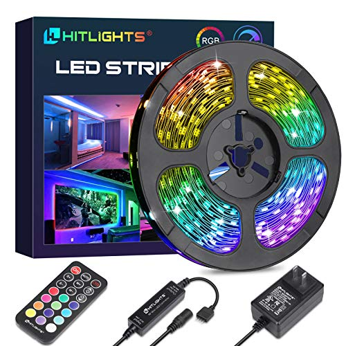 HitLights LED Strip Lights, 32.8ft RGB Color Changing LED Tape Lights 5050 300LEDs Flexible Light...