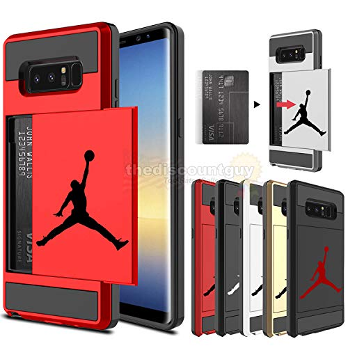 Samsung Galaxy S10e - Dual-Layered Credit Card ID Storage Basketball Case Michael Jordan Money Cash Slide Wallet Jumpman Air Lebron Gold Ten Plus Protective Cover (Red, S10e)