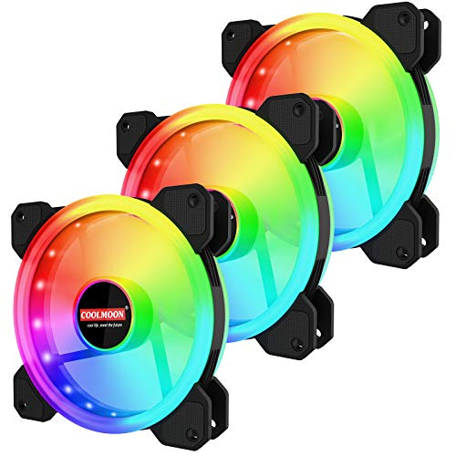RGB Case Fans, CoolerPlayer 120mm 3 Pack Addressable Motherboard Aura Sync Fan, Silent Computer Cooling PC LED Fan with Remote Control, 5V ARGB & Music Rhythm Sync, Speed Adjustable Cooler with Hub