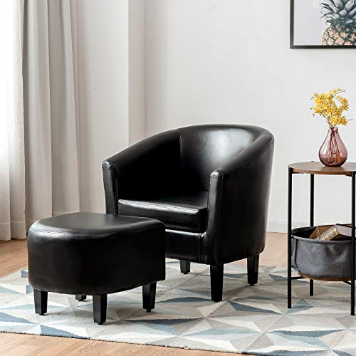 Giantex Modern Accent Chair with Ottoman, Upholstered Barrel Tub Chair and Footrest Set, Faux Leather Club Arm Chair w/Solid Wood Legs, Ideal for Living Room, Bedroom, Garret
