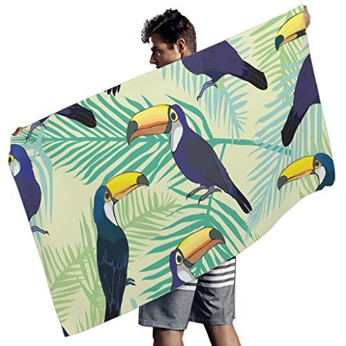 Perstonnoli Tukan Blätter Strandtuch Microfaser Strandtücher Schnelltrocknend Strandhandtuch Badetuch Picknickdecke Strandmatte Yoga Matten Reisehandtücher Rechteckig White 150x75 cm