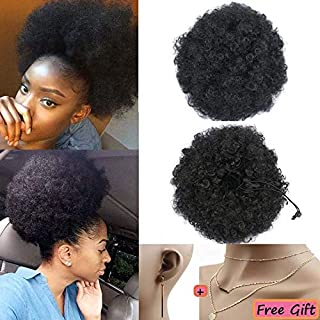 Moshina Graceful African American Black High Puff Ponytail with 4 Clips - High Wrap Updo Hairpieces - Kinky Curly Synthetic Kanekalon Fiber - Afro Bun for Black Women -Natural Chignon (Color 1b)