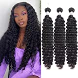 FASHOW Deep Wave Bundles Brazilian Hair Bundles Virgin Human Hair Wet and Wavy Bundles Curly Hair 3 Bundles Natural Black (16 18 20 inch)
