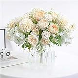NAWEIDA Flores artificiales, ramo de hortensias de seda, decoración de peonías falsas, claveles de plástico, arreglos de flores realistas, decoración de bodas, centros de mesa, 2 paquetes (blanco)