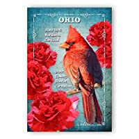 OHIO BIRD AND FLOWER postcard set of 20 identical postcards. OH state symbols post cards. Made in USA. [並行輸入品]