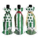 3pcs sacs de couverture de bouteille de vin Saint Patrick 's Day bière bouteille de vin sacs-cadeaux pour dîner Table Champagne