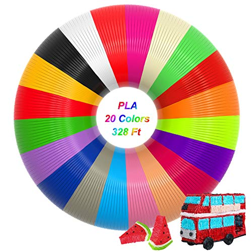 3D Pen PLA Filament, 20 Colors 1.75mm Each Color 16.5 Feet 3D Printer Pen Filament Total 328 Feet No Smells and Easy to Peel Off Filament for PACKGOUT, MYNT3D, Soyan, DeWang, 3D Printer