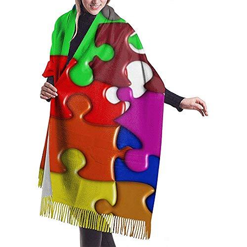 Elaine Shop Puzzle Bufanda de invierno para mujer Cachemira Elegante y suave manta cálida Bufandas