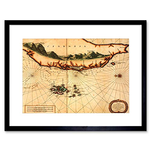 MAP ANTIQUE ISLAND FORMOSA TAIWAN DUTCHS ZWART FRAMED ART PRINT PICTURE B12X7064