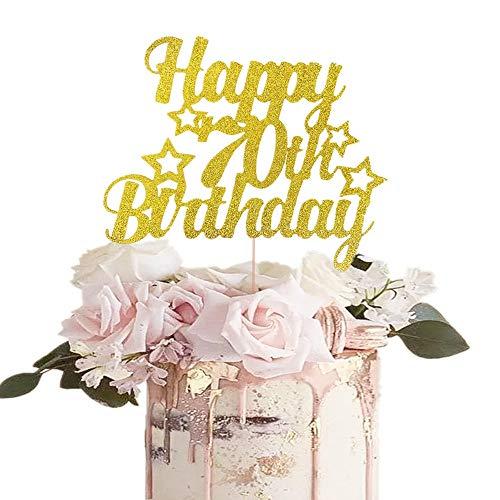 JeVenis Glitter Happy 70 Birthday Kuchendeckel 70 Cake Topper 70 Birthday Cake Decoration