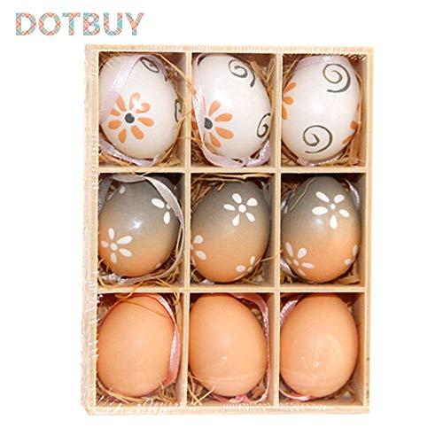 DOTBUY Pasqua Decorazioni da Appendere, Bambini Casa Uova Coniglietto Tavola Giardino Legno/Ceramica Bambini Decorazione di Festa Pasquali