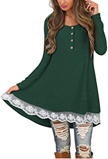 OrchidAmor Women Autumn Casual Long Sleeve O-Neck Button Solid Lace T Shirt Blouse Tops