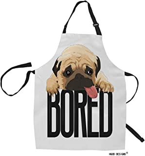 HGOD DESIGNS Pug Kitchen Apron,Funny Cute Pet Tired Pug Dog Quote Bored Kitchen Aprons for Women Men for Cooking Gardening...