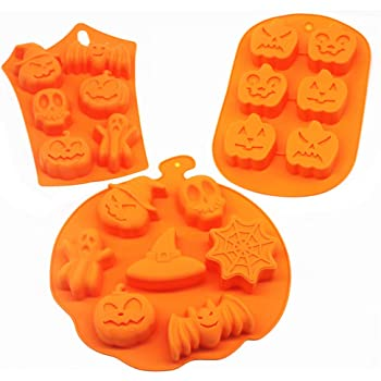 3 PCS Silicone Halloween Ghost Pumpkin Baking Mold Set