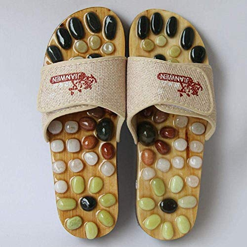 XHDMJ Chaussons De Massage Magnétiques Portables Chaussures De Massage des Pieds Naturels Chaussures De Santé Pantoufles De Massage D'Acupuncture, Mètres Blancs, 43, Mètres Blancs, 40