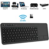 TedGem Tastiera Wireless PC, 2.4G Tastiera Wireless Smart TV Tastiera Wireless per Smart TV USB Ergonomica Tastiera Senza Fili Wireless Tastiera con Touchpad per Laptop/Mac/PC/Android TV
