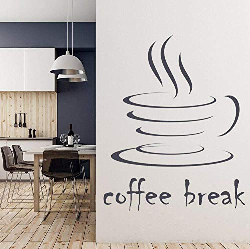 Koffiepause muurtattoo woorden belettering vinyl venster sticker stoom mok eten drank muur kunst keuken koffie binnendecoratie 42 x 43 cm