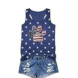 AMAZING1 Camiseta sin mangas para mujer, 4 de julio, diseño patriótico de la bandera americana de los Estados Unidos, camiseta de verano con estampado de huellas de perro y estrella