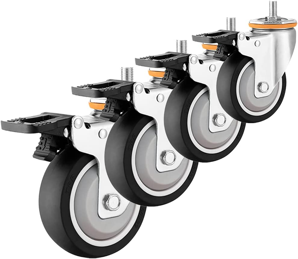 MMQQ 3 inch Swivel Caster Wheels Rubber 25% OFF Casters St M10 Limited time cheap sale Threaded