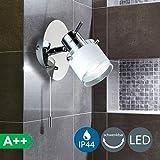 B.K. Licht applique murale LED spécial salle de bain, IP44, interrupteur à cordelette, spot orientable, luminaire salle de...