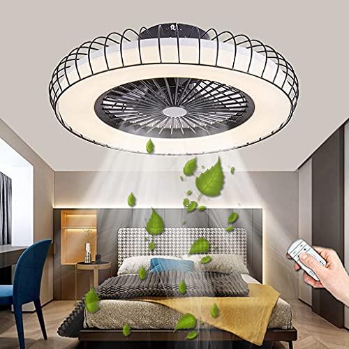 Ventilador De Techo LED Con Iluminación Ventilador Moderno Luz De Techo 72W Regulable Con Control Remoto Ventilador Silencioso Lámparas De Ventilador Para Dormitorio Sala De Estar Comedor (Black)