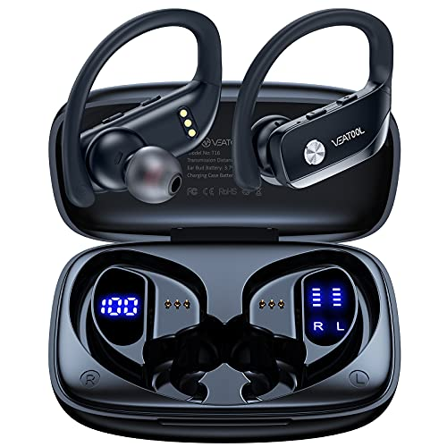 Wireless Earbuds Bluetooth Headphones 48hrs Play Back Sport Earphones with LED Display Over-Ear Buds...