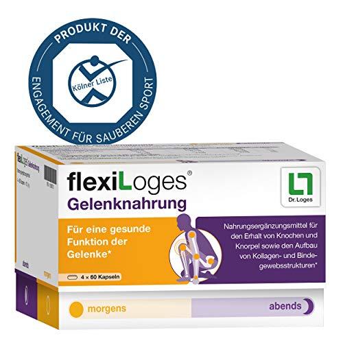 flexiLoges® Gelenknahrung - Nährstoffkonzept bei Gelenkverschleiß - 240 Kapseln, Nahrungsergänzung auf Basis von Glucosamin und Kollagennd Kollagen