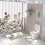 iClosam Duschvorhang, Set mit 4 Duschvorhängen, mit Badezimmer, WC-Vorleger, Sitzkissen, Badezimmer, bedruckt mit 12 Haken, Duschvorhang, für Badezimmer 170 x 72 cm