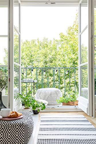 insidehome | Infrarotheizung LANDHAUS rahmenlos | Raufaser mit Bild | extra schlank | 140 – 850 Watt | Motiv: Balkontüre hoch (450 Watt - 90 x 60 cm)