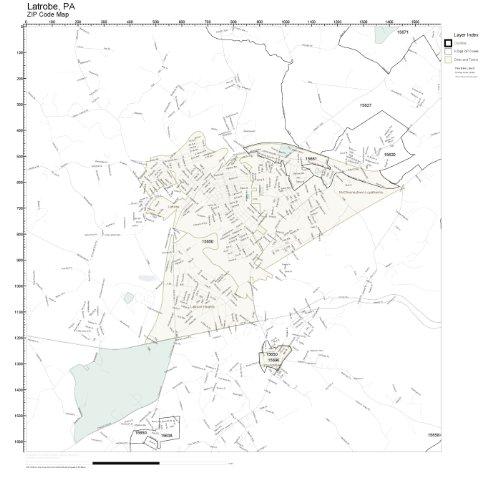 ZIP Code Wall Map of Latrobe, PA ZIP Code Map Laminated