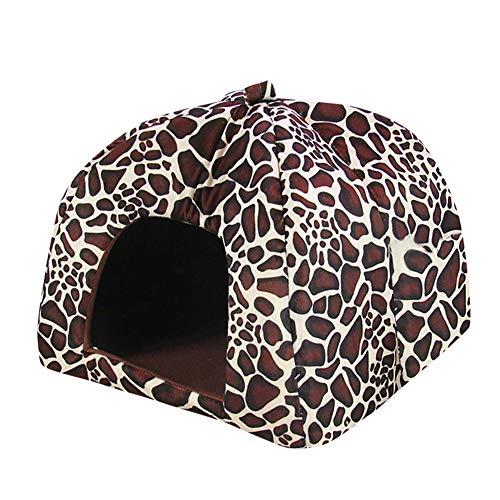 Openg Cueva Gato Caseta Perro Interior Interior Casa de Mascotas Perro de la Comodidad de la Cama Plegable Cama de Gato De Peluche Cama del Perro Stone Pattern,XS