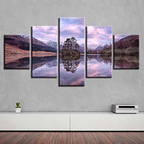 N / A AQSSJJ 5 Pintura Decorativa Arte Modular 5 Piezas Montaña Verde Árbol Lago Paisaje Natural Lienzo Pintura Sala de Arte