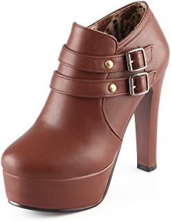 BalaMasa Womens APL12000 Leather Platform Heels