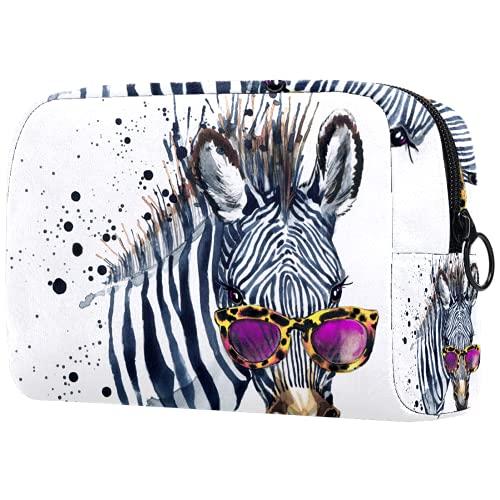 AITAI Bolsa de maquillaje grande bolsa de viaje organizador cosmético acuarela Hipster Zebra con gafas