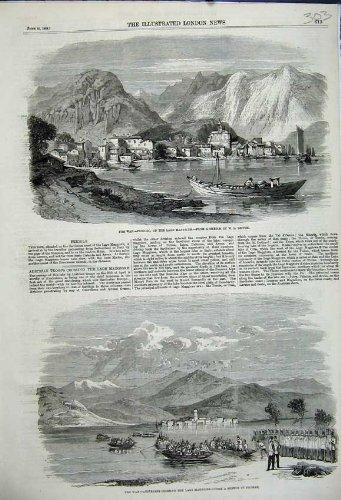 Original old antique victorian print 1859 Colline dei Soldati di Feriolo Lago Maggiore Austraian di Guerra